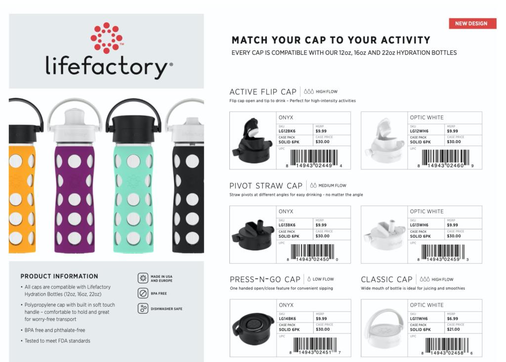 Lifefactory New Cap Designs